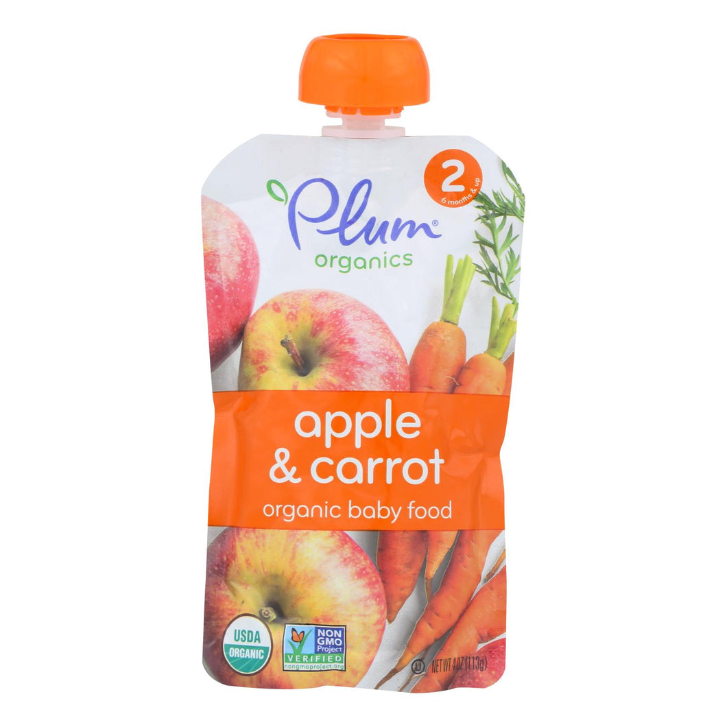 Plum Organics Baby Food - Organic -apple And Carrot - Stage 2 - 6 Months And Up - 3.5 .oz - Case Of 6 - thegsnd