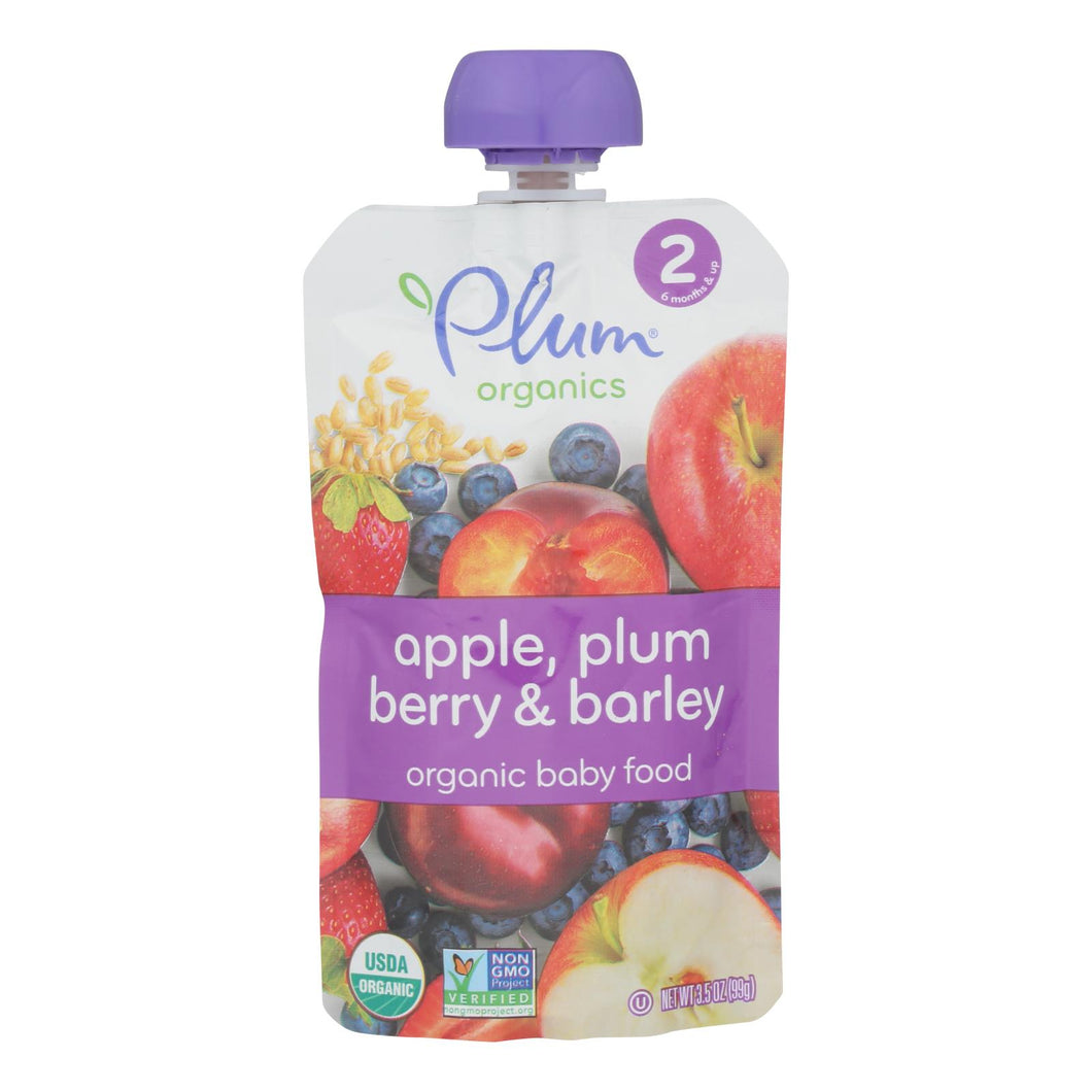 Plum Organics Baby Food - Apple, Plum, Berry And Barley - Case Of 6 - 3.5 Oz. - thegsnd