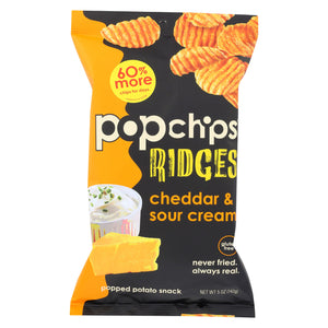 Popchips Potato Chip - Ridges - Cheddar - Sour Cream - Case Of 12 - 5 Oz - thegsnd