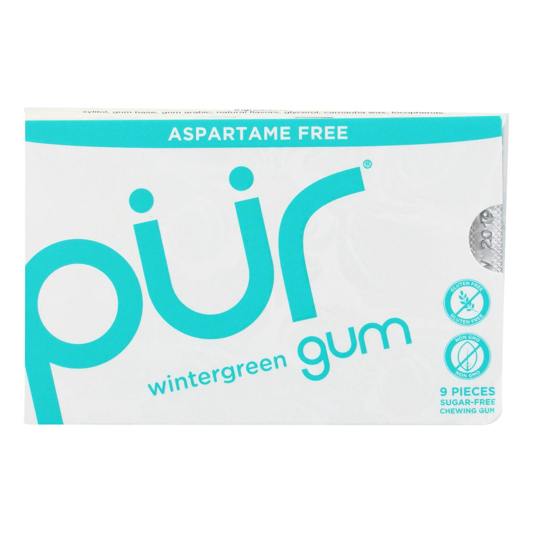 Pur Gum - Wintergreen - Aspartame Free - 9 Pieces - 12.6 G - Case Of 12 - thegsnd