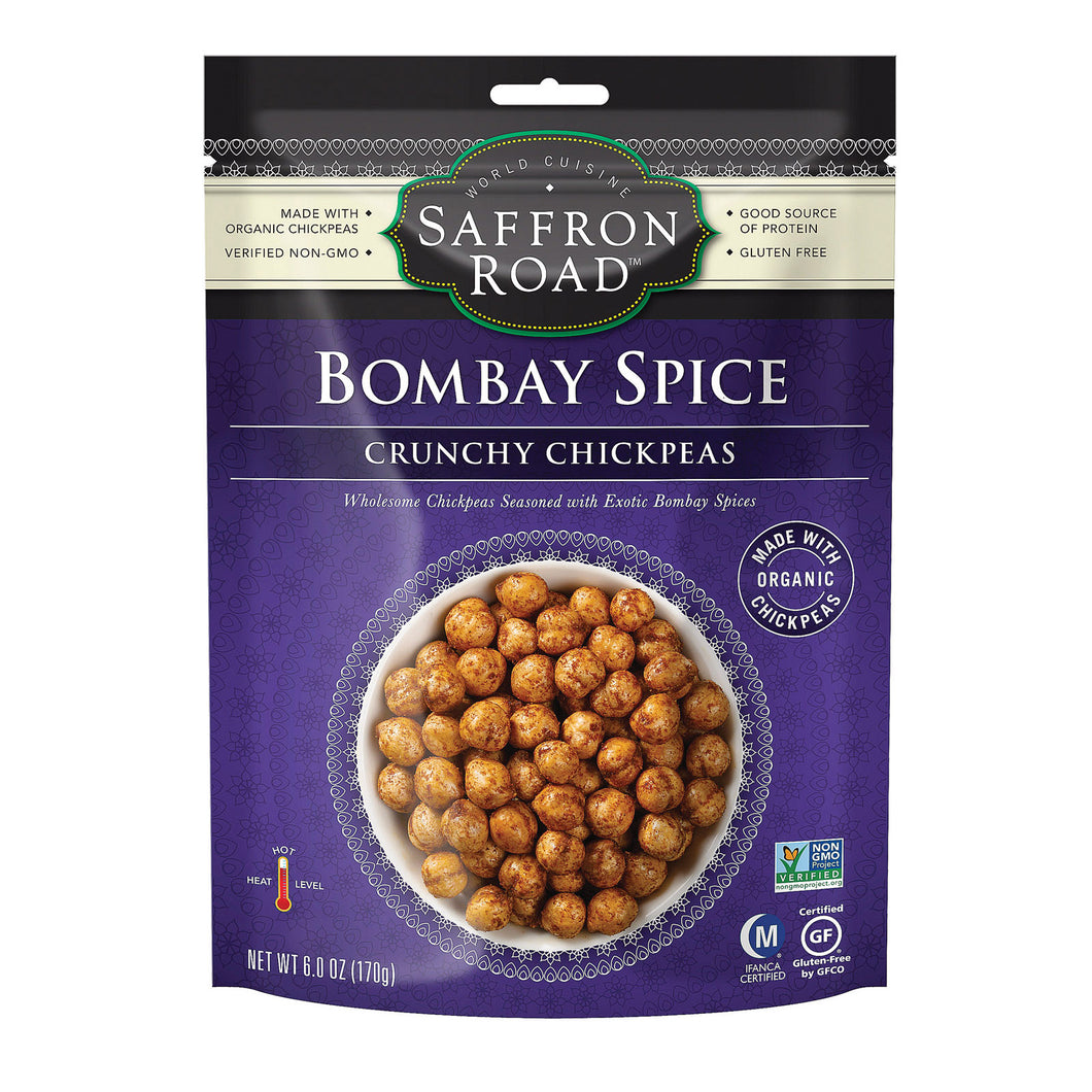 Saffron Road Crunchy Chickpeas - Bombay Spices - Case Of 12 - 6 Oz. - thegsnd