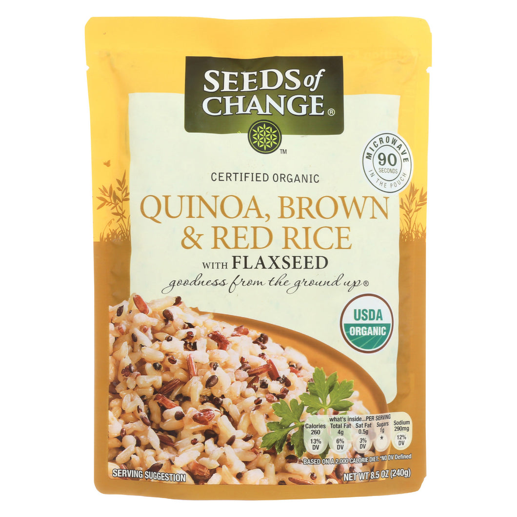 Seeds Of Change Organic Quinoa Brown And Red Rice With Flaxseed - Case Of 12 - 8.5 Oz - thegsnd