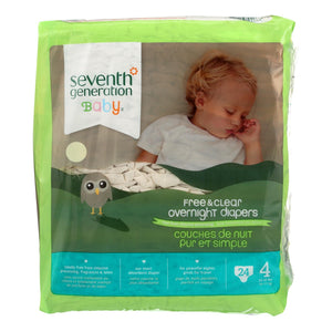 Seventh Generation Free And Clear Overnight Diapers - Stage 4 - Case Of 4 - 24 Count - thegsnd