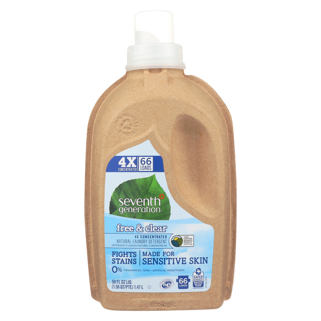 Seventh Generation Natural 4x Concentrated Laundry Detergent - Free And Clear - Case Of 6 - 50 Fl Oz. - thegsnd
