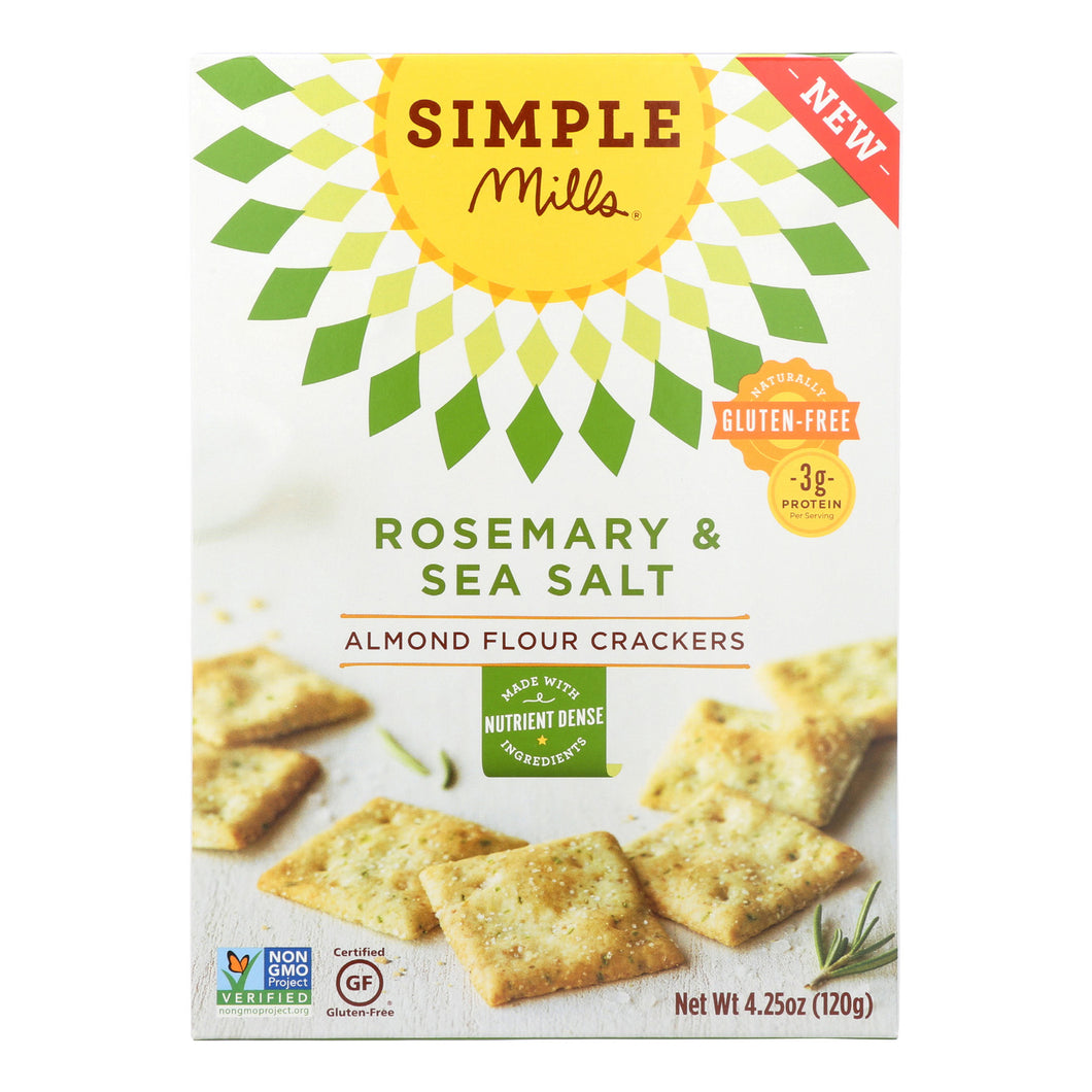 Simple Mills Rosemary And Sea Salt Almond Flour Crackers - Case Of 6 - 4.25 Oz. - thegsnd