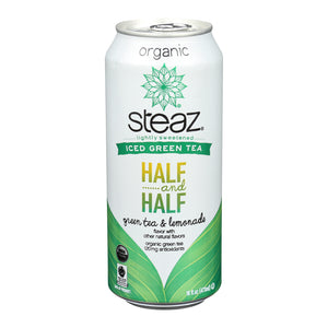 Steaz Lightly Sweetened Green Tea - Half And Half - Case Of 12 - 16 Fl Oz. - thegsnd
