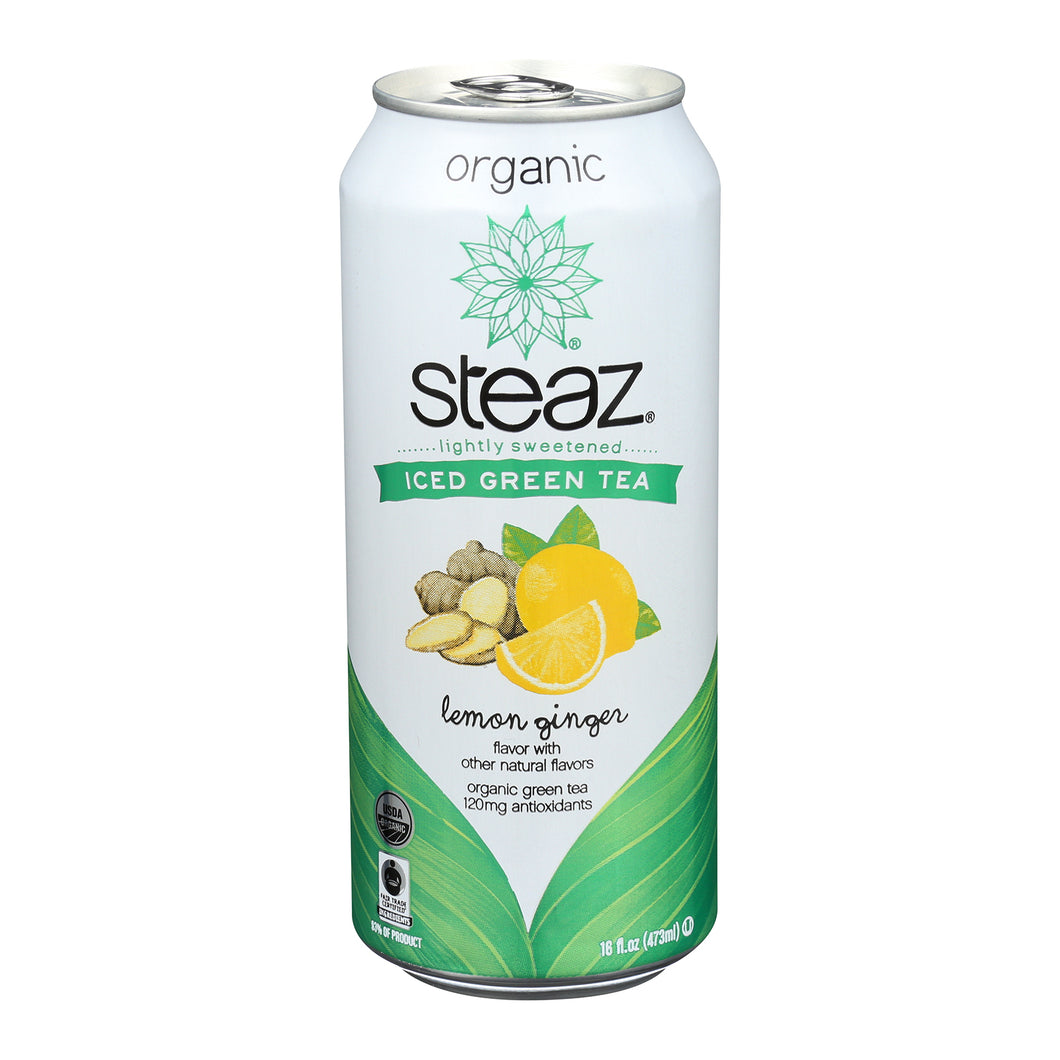 Steaz Lightly Sweetened Green Tea - Lemon Ginger - Case Of 12 - 16 Fl Oz. - thegsnd