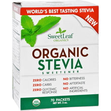Load image into Gallery viewer, Sweet Leaf Sweetener - Organic - Stevia - 70 Count - thegsnd