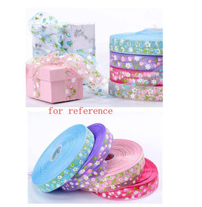 Baking Wrapping Cake Gift Decoration Ribbon Floral Pattern Ribbon 1 Rolls, Blue - thegsnd