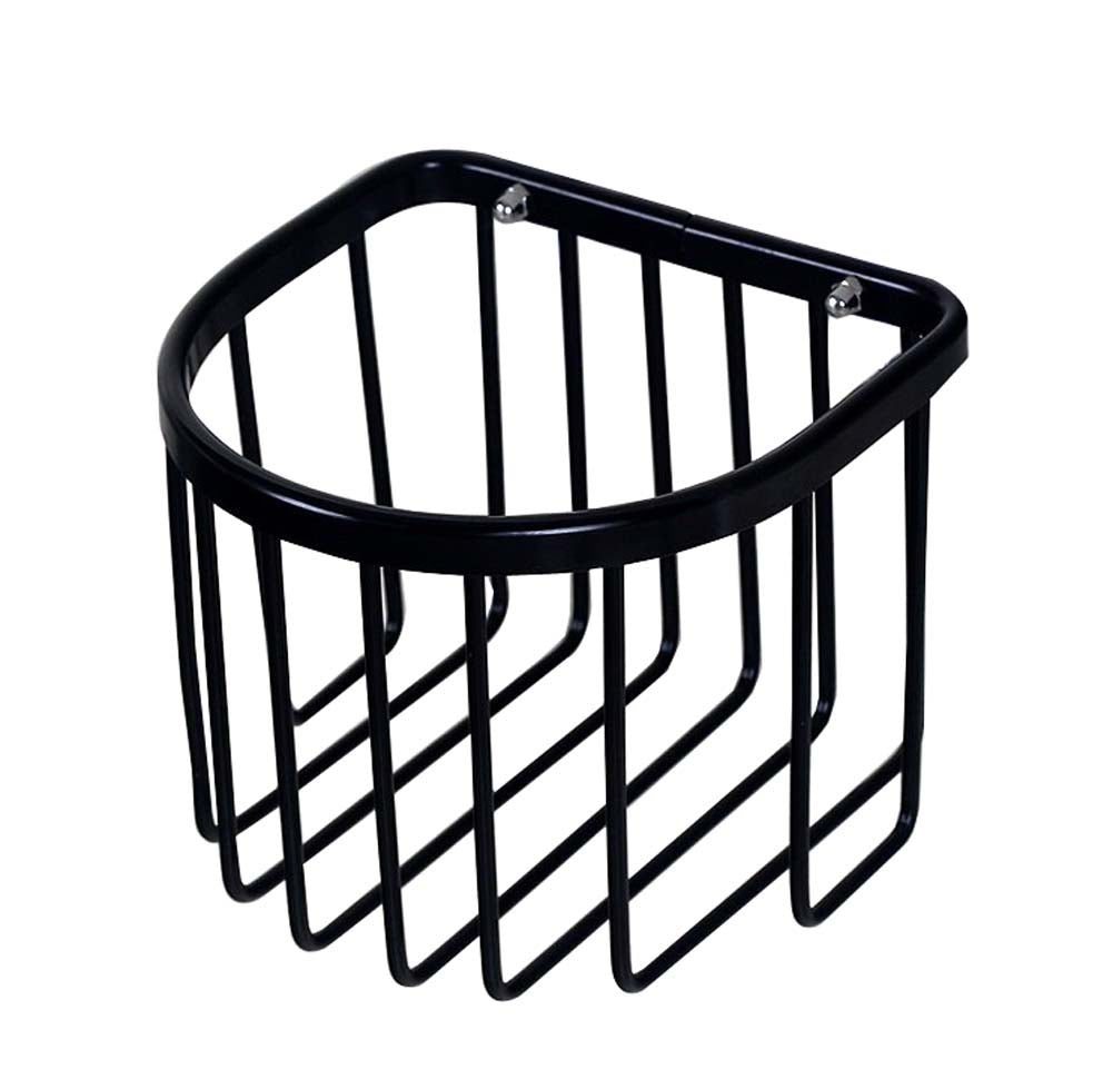 New Bathroom Tissue Holder Aluminium Toilet Roll Holders Basket, Black - thegsnd