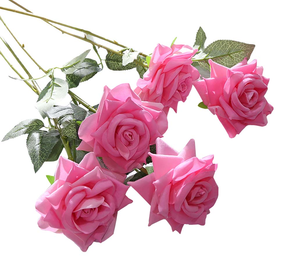 Wedding Party Home Decor Artificial Rose Flowers Fake Flowers (10 Pieces), Pink - thegsnd