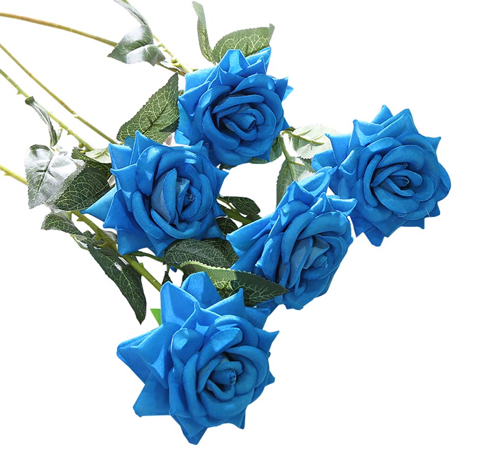 Wedding Party Home Decor Artificial Rose Flowers Fake Flowers (10 Pieces), Blue - thegsnd