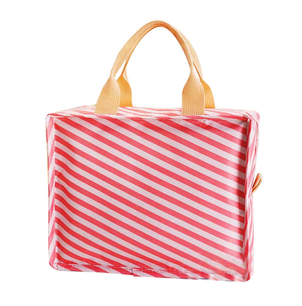 New Portable Waterproof Insulated Lunch Bag Tote Bag For Women, Red Stripe - thegsnd