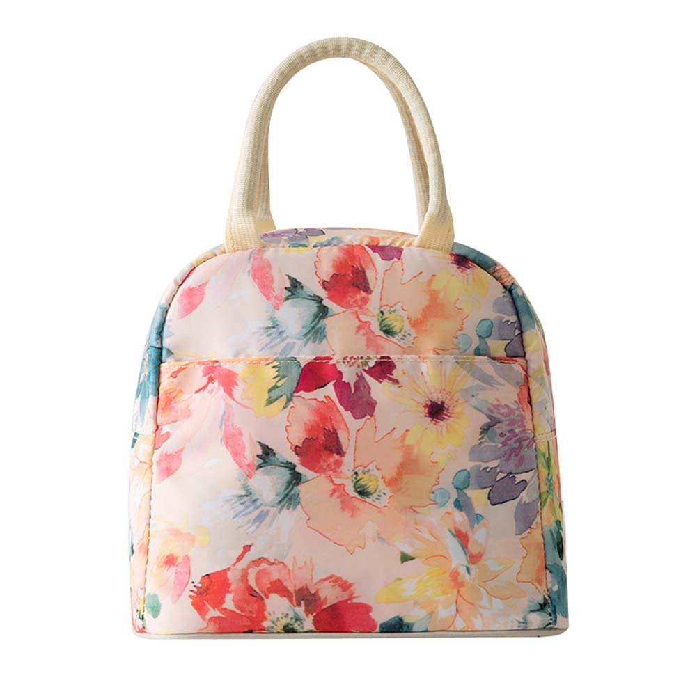 Printing Design Insulated Reusable Lunch Tote Organizer Bag, Colorful Flowers - thegsnd