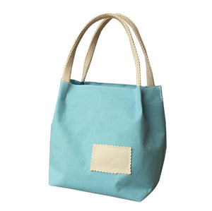 New Candy Colors Lunch Bag Tote Bag Canvas Lunch Organizer Bag, Blue - thegsnd