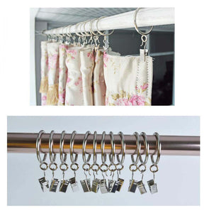 Set Of 50 Stainless Steel Curtain Clips Art Craft Dispaly Multi-purpose Curtain Hooks - thegsnd