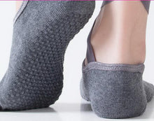 Load image into Gallery viewer, Yoga Socks Self Tied Style Toeless Socks Profession Female Dance Socks Dark Gray - thegsnd