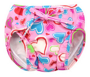 Baby Swim Trunks 0-3 Infants Cartoon Swimsuit Leakproof Swim Shorts, Pink Hearts - thegsnd