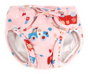 Baby Swim Trunks 0-3 Infants Waterproof Swimsuit Leakproof Swim Shorts, Pink Car - thegsnd