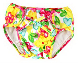 Baby Swim Trunks 0-3 Infants Cute Swimsuit Leakproof Swim Shorts, Yellow Flowers - thegsnd