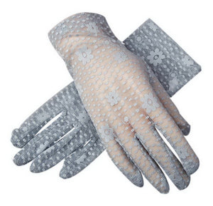 Sunscreen Driving Gloves Summer Anti-uv Women's Flower Pattern Lace Gloves, Gray - thegsnd