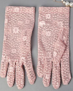 Sunscreen Driving Gloves Summer Anti-uv Women's Flower Pattern Lace Gloves, Pink - thegsnd