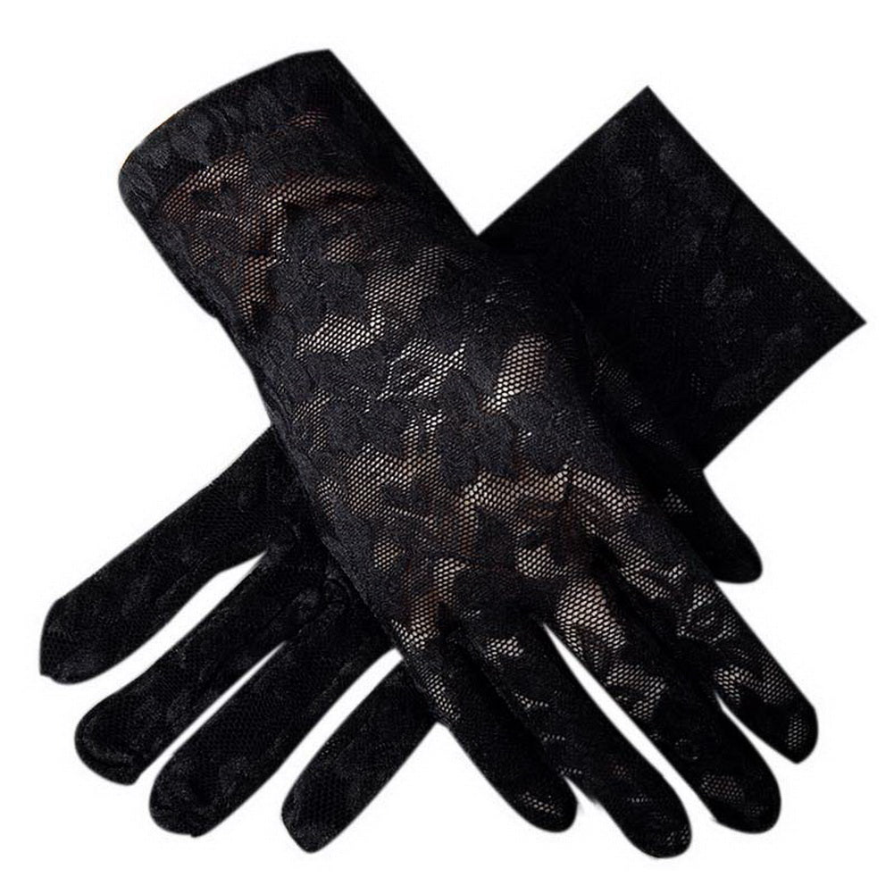 Sunscreen Driving Gloves Summer Anti-uv Womens Flower Pattern Lace Gloves, Black - thegsnd