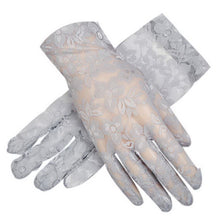 Load image into Gallery viewer, Driving Sunscreen Gloves Summer Anti-uv Women's Ice Silk Short Lace Gloves, Gray - thegsnd