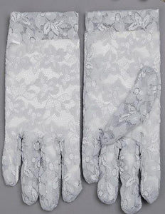 Driving Sunscreen Gloves Summer Anti-uv Women's Ice Silk Short Lace Gloves, Gray - thegsnd