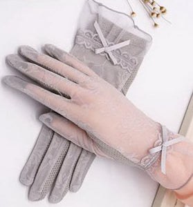 Anti-uv Sun Gloves Driving Bowknot Lace Ice Silk Short Touch Screen Gloves, Gray - thegsnd