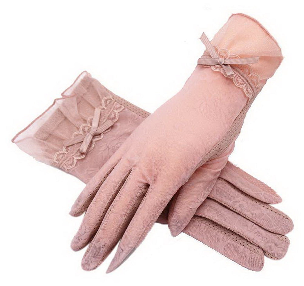 Anti-uv Sun Gloves Driving Bowknot Lace Ice Silk Short Touch Screen Gloves, Pink - thegsnd