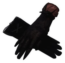 Load image into Gallery viewer, Summer Sun Gloves Driving Bowknot Lace Ice Silk Short Touch Screen Gloves, Black - thegsnd