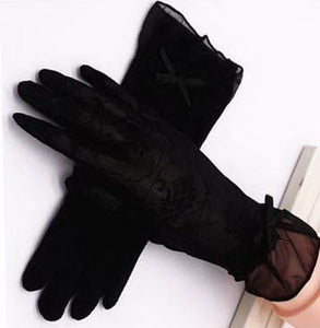 Summer Sun Gloves Driving Bowknot Lace Ice Silk Short Touch Screen Gloves, Black - thegsnd