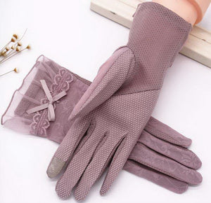 Sunscreen Gloves Driving Bowknot Lace Ice Silk Short Touch Screen Gloves, Purple - thegsnd