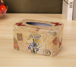 European Creative Living Room Iron Tissue Boxes, Flowers And Butterflies - thegsnd