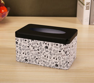 European Creative Living Room Iron Tissue Boxes, Black And Graffiti - thegsnd