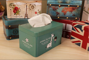 European Creative Living Room Iron Tissue Boxes, Dark Green And Giraffe - thegsnd