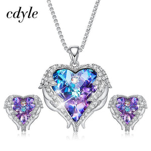 Cdyle Crystals from Swarovski Angel Wings Necklaces Earrings Purple Blue Crystal Heart Pendant Jewelry Set For Women Love Gifts-thegsnd
