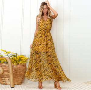 Women Print Maxi Dress Ladies Sexy Backless Spaghetti Strap Deep V-Neck Lace Up Empire Dresses - thegsnd
