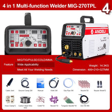 Load image into Gallery viewer, ANDELI MIG Welding Machine MIG-270TPL 220V MIG/MAG/TIG/MMA/Pulse/Cold 4 in 1 TIG Welding Machine MIG Welder TIG Welder DC TIG - thegsnd