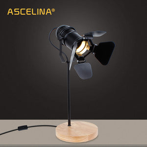ASCELINA Vintage Led Desk Lamp Wooden Table lamp Flexible Adjustable Reading Light Office Home Decoration Lighting Button Switch - thegsnd