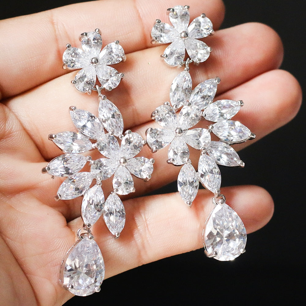 ASNORA Fashion Shiny Zircon Earrings for Women Bridal Earring Jewelry Wedding Accessories Earrings Girls' Bithday Gifts - thegsnd