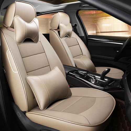 AUSFTORER Custom Genuine Leather Covers Car for Hyundai Elantra 2018 Seat Cover Support Cowhide Front & Rear Cushion Accessories - thegsnd