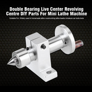 Adjustable Double Bearing Live Center Metal Revolving with 2pcs Wrenches DIY Accessories for Mini Woodworking Lathe Machine - thegsnd