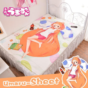Anime Himouto! Umaru Chan Bed Bedding 3d Sheets Kawaii Fitted Bedsheet Carpet Rug Sheet Duvet Covers Quilt Flannel Mattress - thegsnd