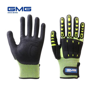 Anti Impact Gloves Anti Vibration oil-proof GMG Yellow HPPE GMG  TPR Safety Work Gloves Cut Resistant Gloves - thegsnd