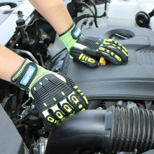 Load image into Gallery viewer, Anti Impact Gloves Anti Vibration oil-proof GMG Yellow HPPE GMG  TPR Safety Work Gloves Cut Resistant Gloves - thegsnd