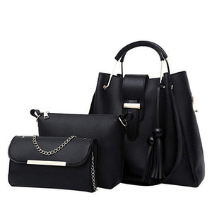 Laamei 3Pcs/Sets Women Handbags Leather Shoulder Bags Female Casual Tote Bag Tassel Bucket Purses Handbags Sac Femme - thegsnd