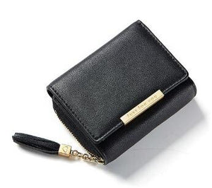 Fashion Tassel Zipper Short Wallet Female PU Coin Purse For Girls Small Leather Women Wallets Credit Card Pocket-thegsnd