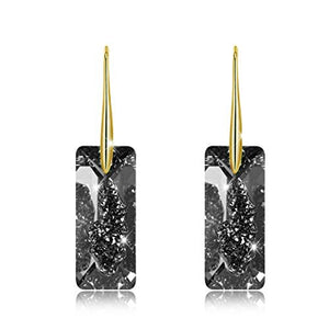 BAFFIN Black Crystals From Swarovski Gold Color Drop Earrings For Women Party Retro Vintage Rectangle Pendant Statement Jewelry-Women Jewelry Collection.-thegsnd
